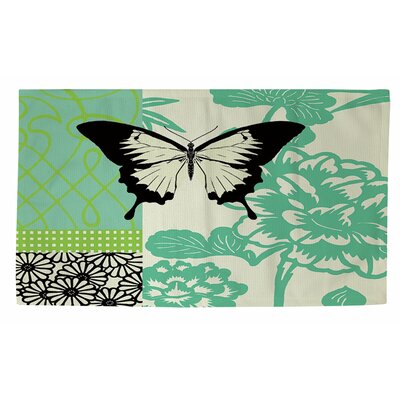 Butterfly Journey 1 Green Area Rug Rug Size: 4 x 6