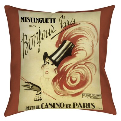 Bonjour Paris Indoor/Outdoor Throw Pillow Size: 16 H x 16 W x 4 D