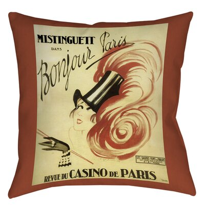 Bonjour Paris Printed Throw Pillow Size: 16 H x 16 W x 4 D
