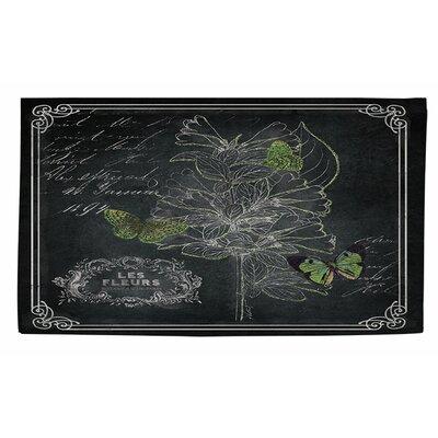 Chalkboard Botanical 2 Black/White Area Rug Rug Size: 4 x 6