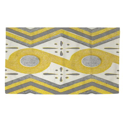 Citron and Slate 2 Yellow/White Area Rug Rug Size: 2 x 3