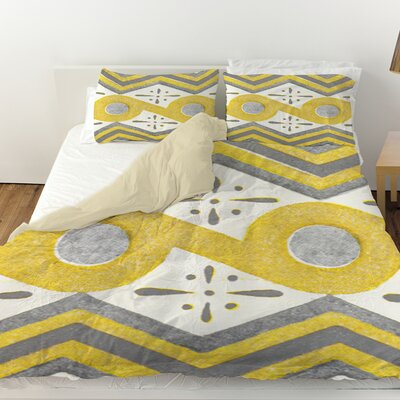 Citron and Slate 2 Duvet Cover Size: King