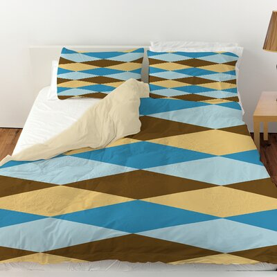 Bold in Blue Argyle Duvet Cover Size: King