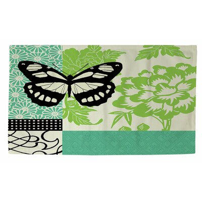 Butterfly Journey 2 Green Area Rug Rug Size: 2 x 3