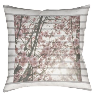 Cherry Blossom Stripes Indoor/Outdoor Throw Pillow Size: 18