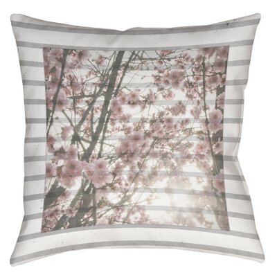 Cherry Blossom Stripes Printed Throw Pillow Size: 18 H x 18 W x 5 D