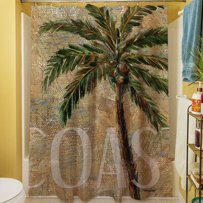 Coastal Palm Postcard Shower Curtain