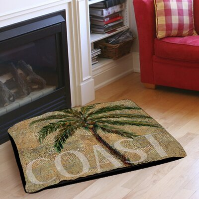 Coastal Palm Postcard Indoor/Outdoor Pet Bed Size: 28 L x 18 W
