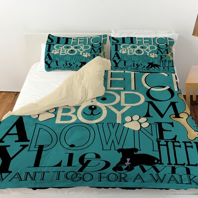 Dog Commands Duvet Cover Size: Twin