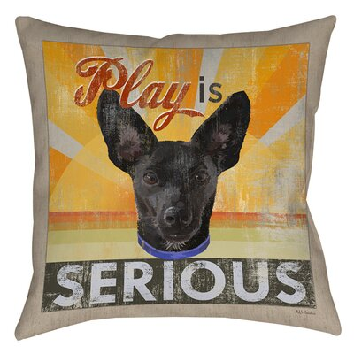 Dog Days - Little Black Pup Indoor/Outdoor Throw Pillow Size: 18 H x 18 W x 5 D