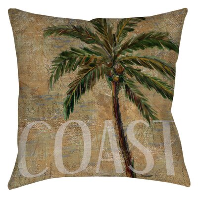 Coastal Palm Postcard Indoor/Outdoor Throw Pillow Size: 16 H x 16 W x 4 D