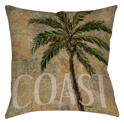 Coastal Palm Postcard Printed Throw Pillow Size: 26 H x 26 W x 7 D