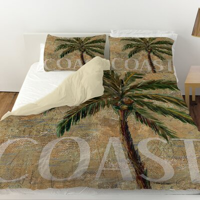 Coastal Palm Postcard Duvet Cover Size: Queen