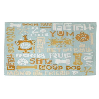 Dog Bark Blue Area Rug Rug Size: 2' x 3'