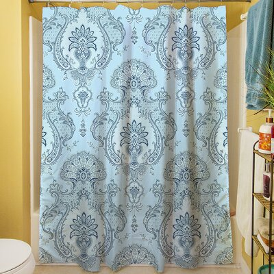 Damask Shower Curtain Color: Blue
