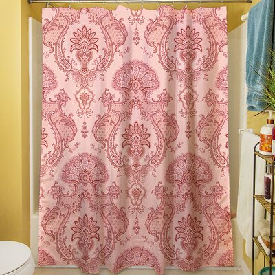 Damask Shower Curtain Color: Pink