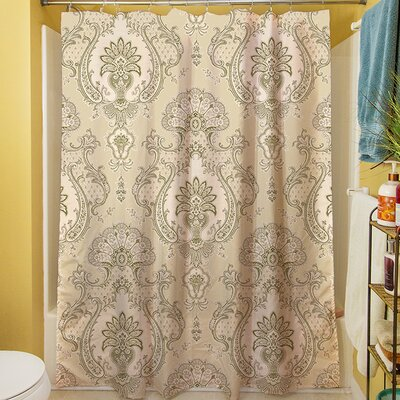 Damask Shower Curtain Color: Taupe