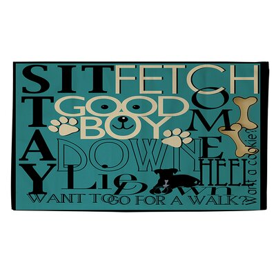 Dog Commands Teal Area Rug Rug Size: 2' x 3'
