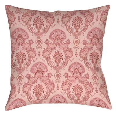 Damask Polyester Throw Pillow Size: 16 H x 16 W x 4 D, Color: Pink