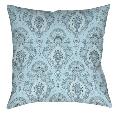 Damask Polyester Throw Pillow Size: 14 H x 14 W x 3 D, Color: Blue