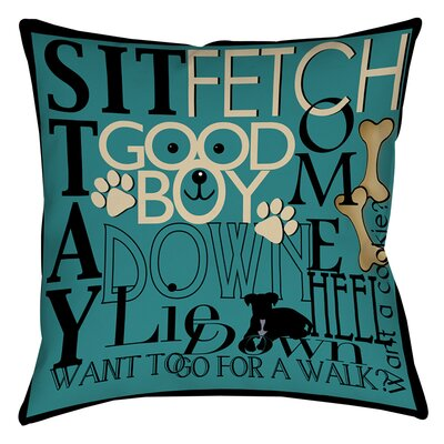 Dog Commands Printed Throw Pillow Size: 18 H x 18 W x 5 D