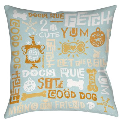 Dog Bark Printed Throw Pillow Size: 14 H x 14 W x 3 D