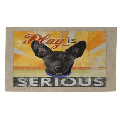 Dog Days - Little Black Pup Beige Area Rug Rug Size: 4 x 6