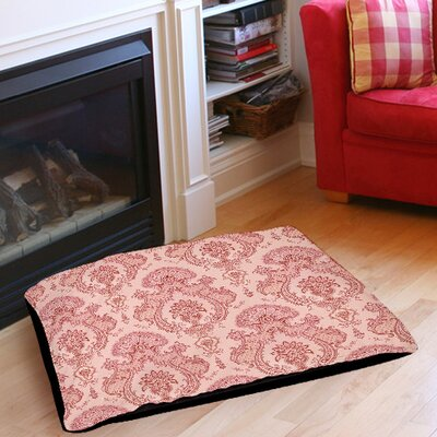 Damask Pattern Indoor/Outdoor Pet Bed Color: Pink, Size: 40 L x 30 W