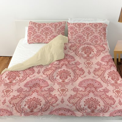 Damask Pattern Duvet Cover Color: Pink, Size: Queen