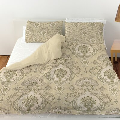 Damask Pattern Duvet Cover Size: Twin, Color: Taupe