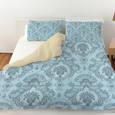 Damask Pattern Duvet Cover Size: Queen, Color: Blue