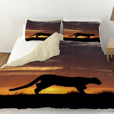Cougar Silhouette Duvet Cover Size: Queen