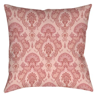 Damask Pattern Indoor/Outdoor Throw Pillow Size: 18 H x 18 W x 5 D, Color: Pink
