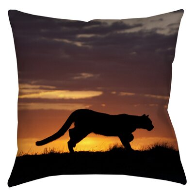 Cougar Silhouette Indoor/Outdoor Throw Pillow Size: 16