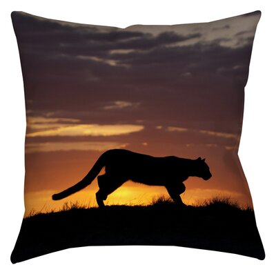 Cougar Silhouette Printed Throw Pillow Size: 16 H x 16 W x 4 D