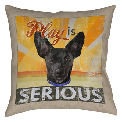 Dog Days - Little Black Pup Printed Throw Pillow Size: 26 H x 26 W x 7 D
