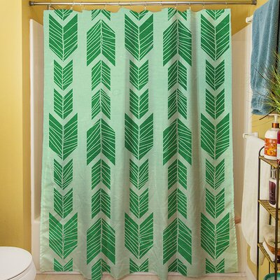 Debarr Shower Curtain Color: Green