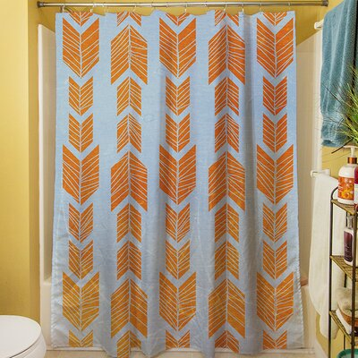 Featherwood Shower Curtain Color: Orange