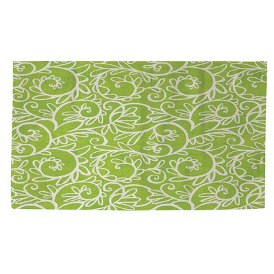 Funky Florals Swirl Pattern Green Area Rug Rug Size: 2 x 3