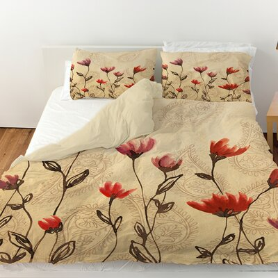 Floral Paisley Stems Duvet Cover Size: King