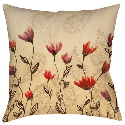 Floral Paisley Stems Printed Throw Pillow Size: 16