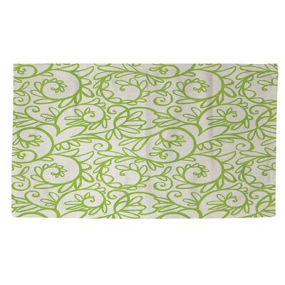 Funky Florals Swirl Pattern White Area Rug Rug Size: 2 x 3