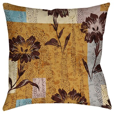 Floral Study in Blocks Indoor/Outdoor Throw Pillow Size: 16 H x 16 W x 4 D
