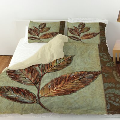 Golden Leaf 1 Duvet Cover Size: King