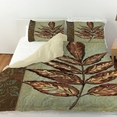 Golden Leaf 2 Duvet Cover Size: Queen