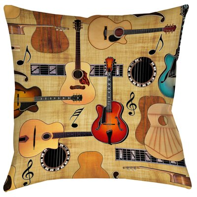 Guitar Collage Cream Printed Throw Pillow Size: 14 H x 14 W x 3 D