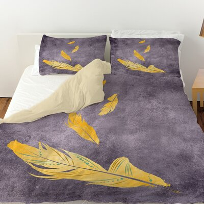 Feather Float Duvet Cover Color: Gold, Size: Twin