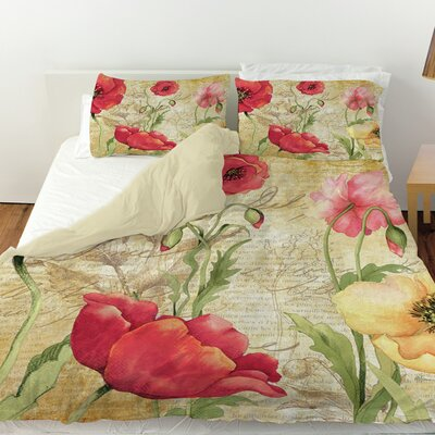 Large Poppy Heads Duvet Cover Size: Twin