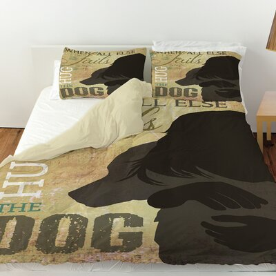 Hug the Dog Duvet Cover Size: Twin