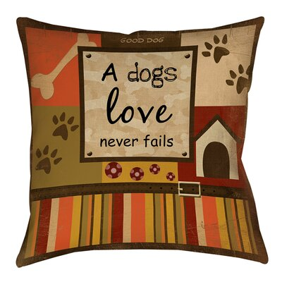 Love Never Fails Printed Throw Pillow Size: 20 H x 20 W x 5 D